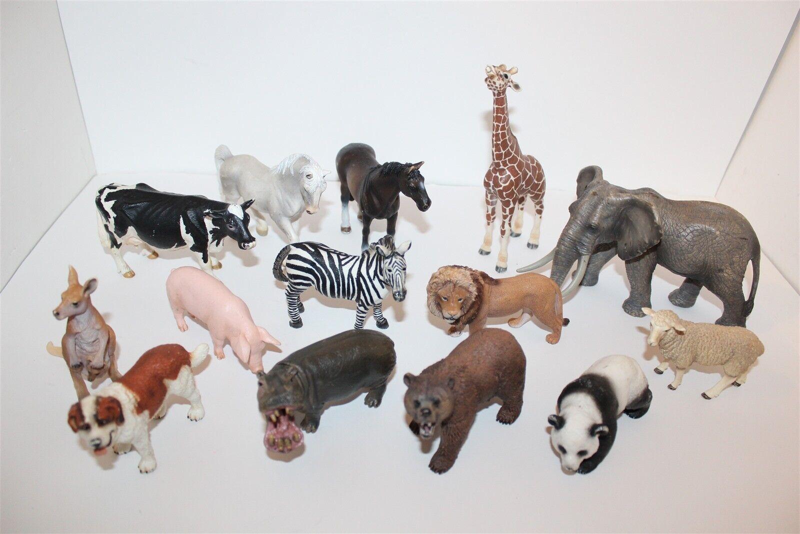 Schleich Bulk Lot Of Animal Figures Elephant Bear Lion Zebra Etc...