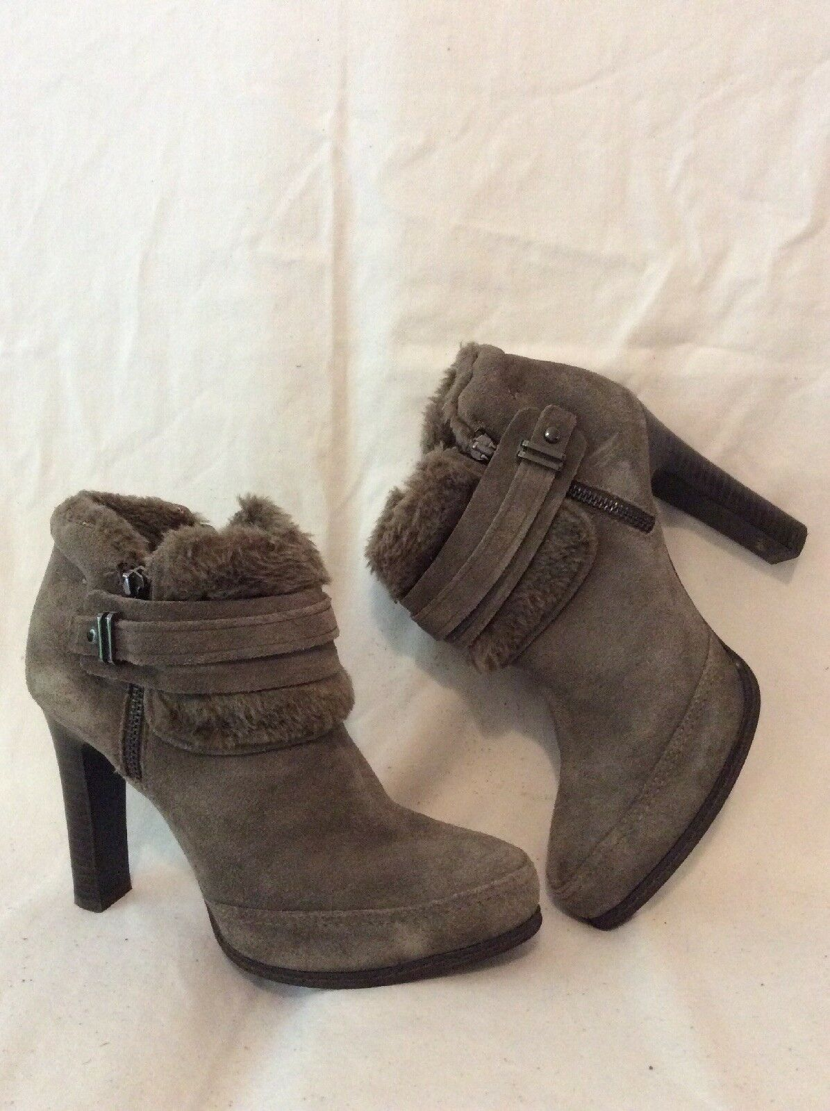 Autograph Grey Ankle Suede Boots Size 4