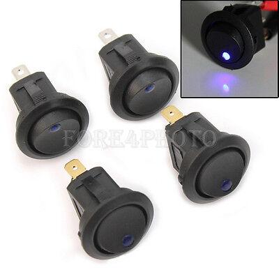 4x Car Boat Marine Round Blue LED Rocker Indicator Switch 3 Pin On-Off 12V DC