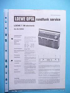 Service Manual-anleitung Für Loewe T 98 original SorgfäLtig AusgewäHlte Materialien Tv, Video & Audio