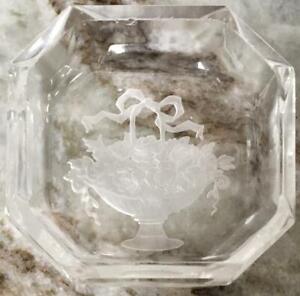 2 Vintage Glass Intaglio Open Salt Cellar- rose and green
