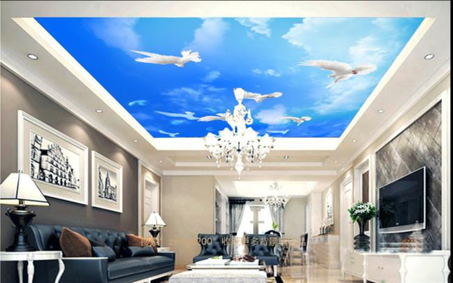 3D Fly Pigeons 56 Ceiling WallPaper Murals Wall Print Decal Deco AJ WALLPAPER UK