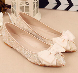 Ivory silk satin mesh Wedding shoes flat ballet lace Bridal shoes ...