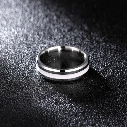 6 mm Noir//émail blanc Band Hommes Femme Acier Inoxydable 316 L Anneau Mariage SZ 6-13
