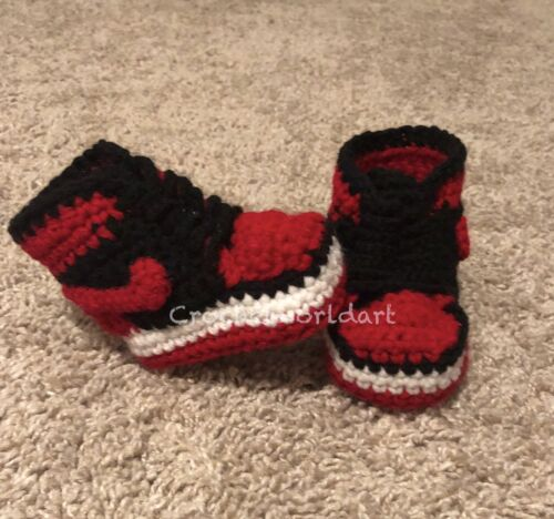 Crochet Baby Sneaker J Basketball Air Red Black White Jordan 1 Bred
