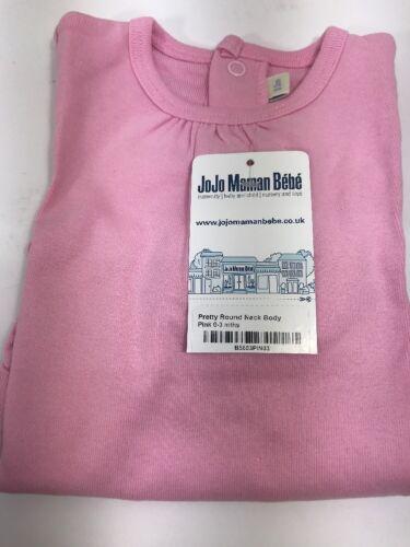 New JoJo Maman Bebe Pretty Little Round Neck Body Suit Pink 0-3 Months J