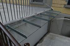 Tettoia in acciaio inox con 45 GRADI PUNTA + Tettoia in vetro chiaro 400cm x 120cm x 10,76mm