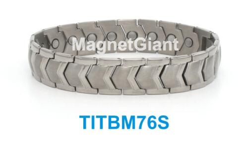 5000 gauss magnets Silver High power mens magnetic Titanium bracelet
