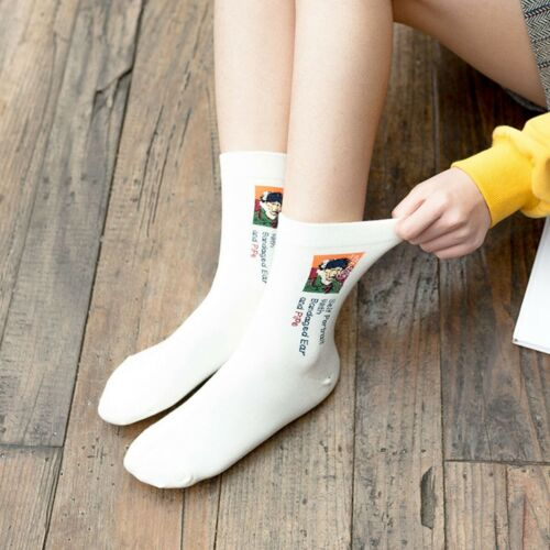 1 Pair Famous Oil Painting Mona Lisa Art Women Socks Cotton Harajuku Long Socks