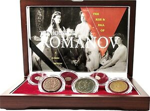 Blood of the Romanovs,A Set of 6 Coins,Certificate,Story/& Beautiful Wood Box