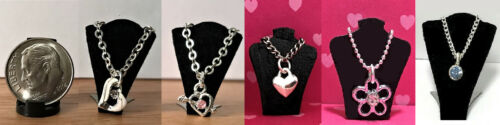 1:12 Scale  Silver with Bling Dollhouse Miniature Jewelry Necklace