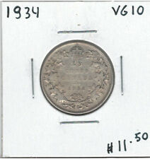 Canada 1934 Silver 25 Cents VG10 Lot#2
