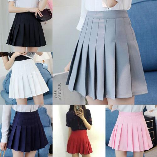 Women Girls Pleated Skirt School Dress High Waist Skirt Short Mini A Line Skirt