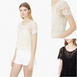 ced1114ca03c8d NEW Mango (Zara Group) Crochet t-shirt Top Blouse in Black and Beige ...