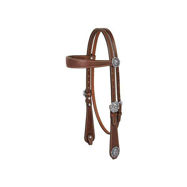 Conjunto De Cuero Marrón occidental de Cabezada pecho collar riendas con cesta Tooling