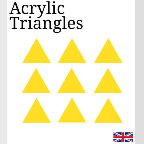 Yellow Triangles Laser Cut Acrylic Perspex Various Sizes small Arts /& Crafts K/&M
