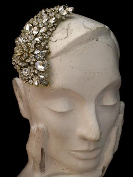 """4.9"""" Grande Vintage Oro Fiore Rosa Capelli Cristallo Foglia Pettine-da Cerimonia Fabbriche E Miniere"""