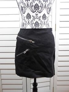 Womens Zippers da Short Casual Chic Large Kooples Mini New The donna Skirt Black wxIUIASq