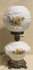 Vtg-Fenton-Daisy-Puffy-Lion-Head-GWTW-Oil-Lamp-Style-Parlor-Desk-Light-Lamp