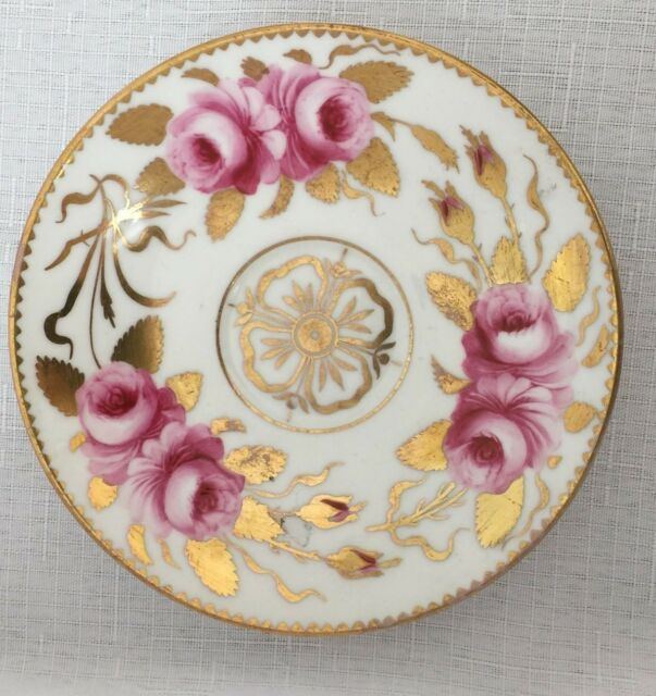 Crown England  GILMAN COLLAMORE /& CO Saucer Pink Flowers Gold