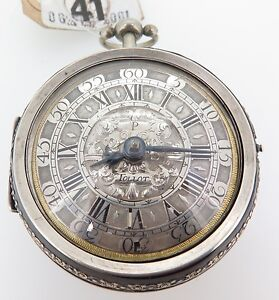 C-1700-PIERRE-TOLLOT-SILVER-CHAMPLEVE-PAIR-CASED-VERGE-POCKET-WATCH