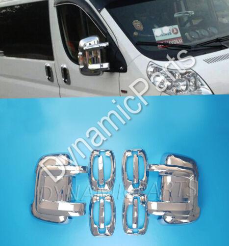 Chrome Ala Espejo Lateral Cubre Peugeot BOXER Abs Cromado 4 Puerta Cubiertas De Mango
