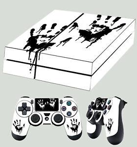 PS4-Peau-Encre-Main-Imprimes-Death-Console-Autocollant-2-X-Manette-Neuf