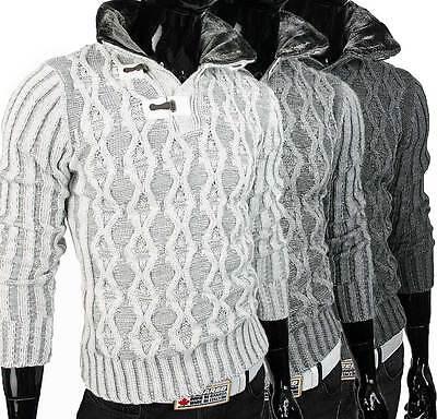 Warmer Herren Winter Grobstrick Fell Strick Pullover Sweat Shirt Slim Fit 646