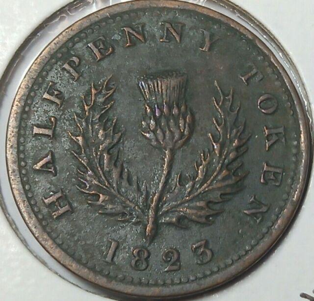 1823 Nova Scotia Canada 1/2 penny token NS-1B1 BR-867