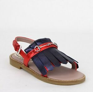 f1cb95257 Gucci Girl Toddler Red/Blue Metallic Leather Fringe Sandals 26/US 10 ...