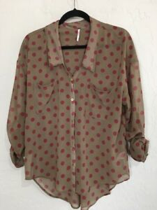 Womens-Free-People-Blouse-M-Tab-Long-Sleeve-Sheer-Dot-Button-V-neck-Collar-6001