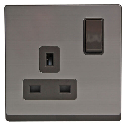 Stainless Steel Brushed 1 Gang Single 13 Amp Grey Matt Power Socket Switch Plug