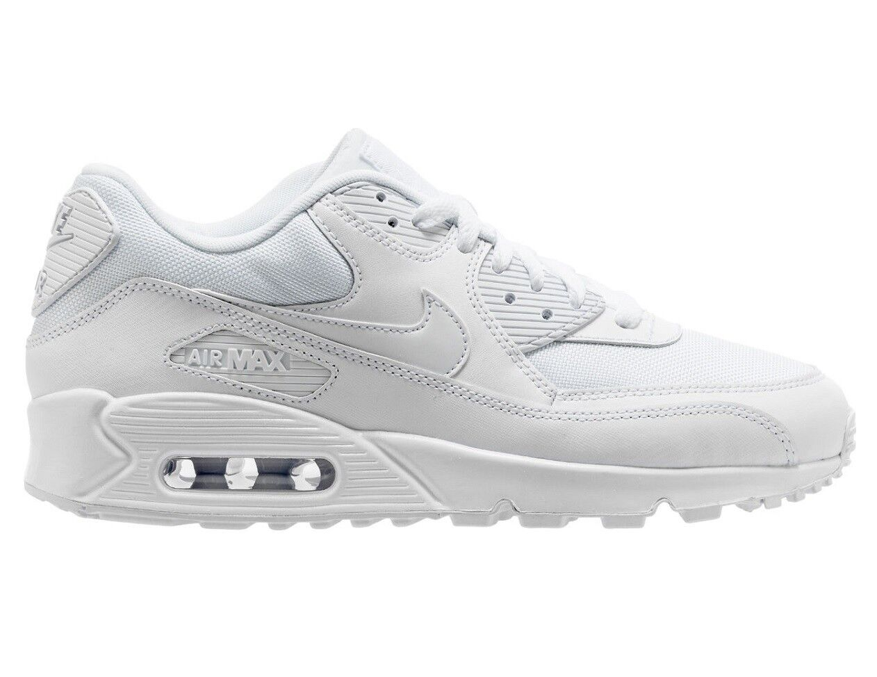 Nike Air Max 90 Essential Mens 537384-111 Triple White Running Shoes Size 9.5