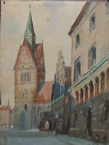 1908-Marktkirche-in-Hannover-antik-selten-Stadtansicht-Niedersachsen-Gemaelde