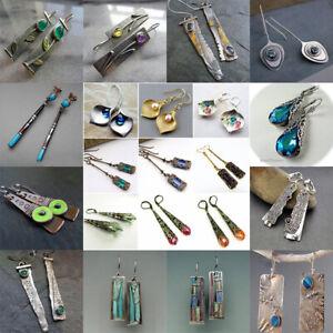 Vintage-Women-039-s-Emerald-amp-Amethyst-Silver-Dangle-Wedding-Earrings-Jewelry-Gifts