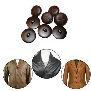 50pcs-Plastik-Klassisch-Dunkelbraun-Leder-Effekt-Fussball-Stil-Hemd-Mantel-Knopf