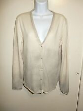 AIDA BARNI 100% CASHMERE WHITE ASH-GRAY STAINS AT BOTTOM CARDIGAN SWEATER M/L