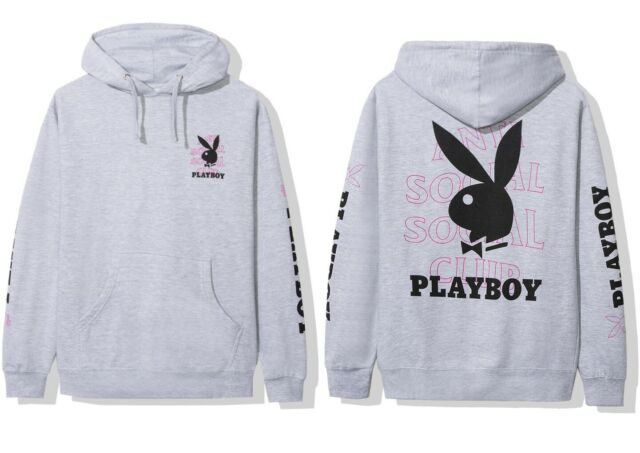 DS Anti Social Social Club White Playboy x ASSC Pink Logo Remix Black hoodie