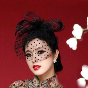 Flower Polka Dot Mesh Net Veil Feather Fascinator Hair Clip Hat ... 7a1601d67db