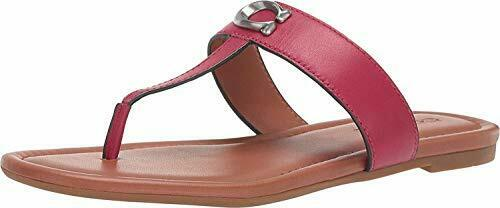 Coach Womens Jessie Leather Open Toe Casual, Bright Cherry Leather, Size 8.5