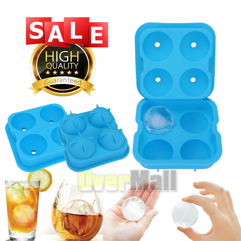 Whiskey Silicone Ice Cube Ball Maker Mold Sphere Mould Tray Bar Tool Blue Color
