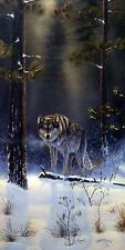 "Rick Kelley ""The Shadow Hunter Wolf Art Print-Signed  10.5"" x 21"""