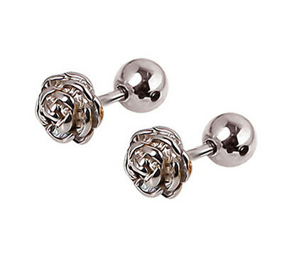 2PC Titanium steel Rose Flowers Stud Earrings Tragus Cartilage Gift E099H