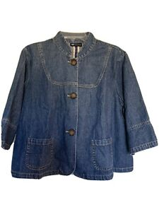 Womens 3//4 Sleeve Collared Loose Button Down Denim Coats Hooded Jackets Outwear