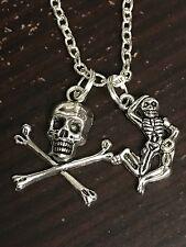 "Halloween Skeleton & Skull Cross Bones Charm Tibetan Silver 18"" Necklace B143"