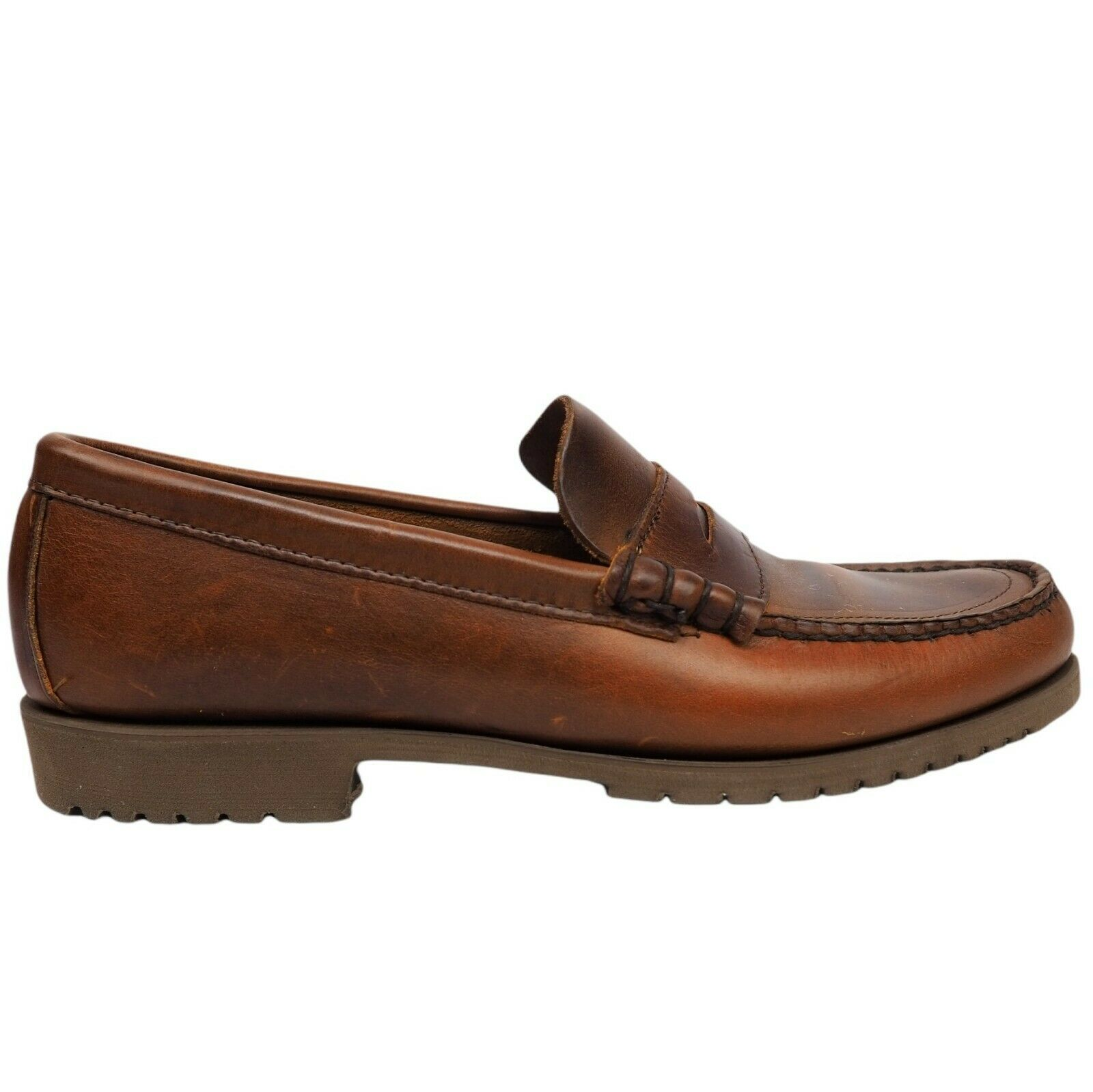 Keith Highlanders Mens Brown Leather Casual Slip On Penny Loafers Shoes Size 8 D