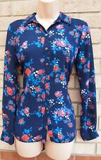 G21 BLUE RED FLORAL ALL BUTTONED LONG SLEEVE T SHIRT TUNIC BLOUSE TOP VEST 8 S