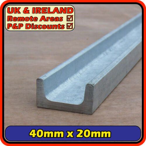 Galvanised Mild Steel Channel 40 x 20mm40mm x 20mm iron C U section
