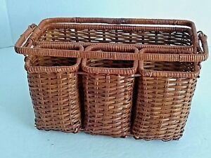 Vintage-4-Compartment-Wicker-Condiment-Storage-Holder-Basket-Folding-Handle