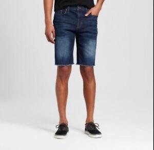 NWOT-Mossimo-Mens-Dark-Wash-Jean-Shorts-40W-Knit-Slim-Total-Flex-40